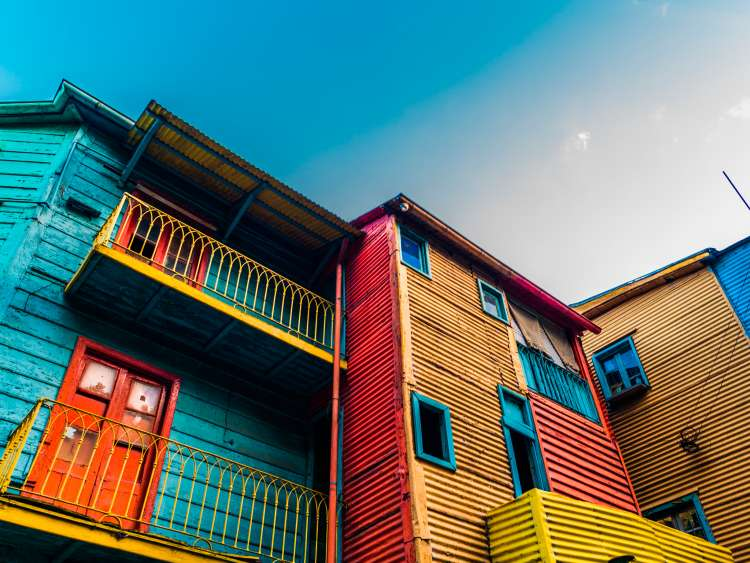 Group of colourful houses in Buenos Aires