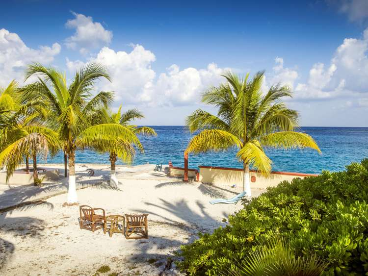The white sandy beach of Cozumel on a Costa Cruise