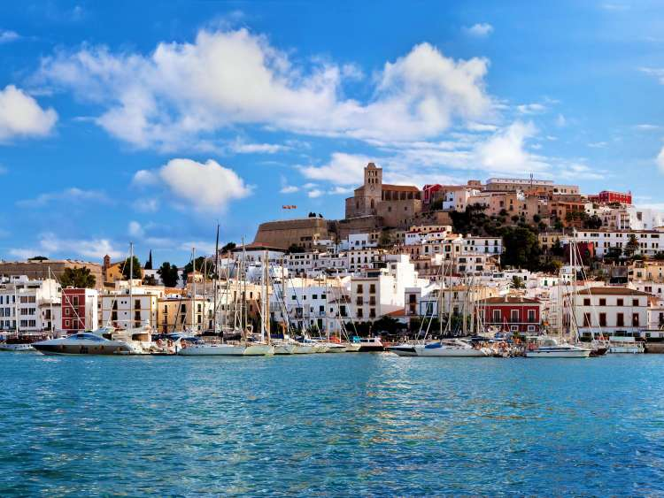 The sea, entertainment and city of Ibiza on a Costa Cruise