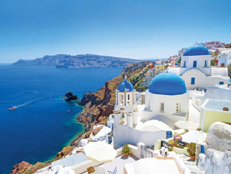 The blue sea of Greece and Santorini on a Costa Cruise