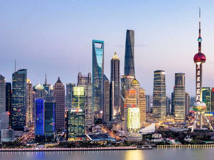 The skyline of Shanghai China on a Costa Cruise